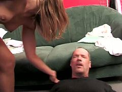 Two girls are torturing their boss…they kick his ass and jump like a trampoline on his dick and balls.He thinks hes all that but gets dominated and beaten like a little bad boy!