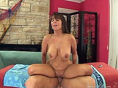 Brunette milf Cassidy Exe favours her man with a deepthroat blowjob. After that they have amazing sex in the reverse cowgirl position.