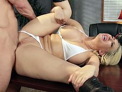 Voluptuous secretary is willing to do anything for her horny boss when he needs her services