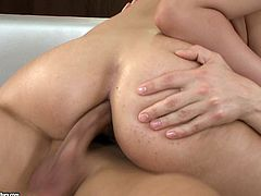 A fuckin' nasty ass bitch sucks on a hard cock and takes it balls deep into her glorious cunt, check it out right here, it's hot as fuck!
