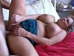 Checkout this blonde BBW mature woman Wanda. Waking up and straight having a desire to get her mature pussy filled by a big fat cock. This mature crazy bitch with big juggs and fat ass gets poked by the guy in doggystyle. Then she rides his cock in cowgirl pose. Finally gets a cumshot in her sweet mouth.