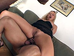 Nasty threeway fucking with monster black and white dongs for sizzling blonde momma sweet pussy and anal satisfaction.