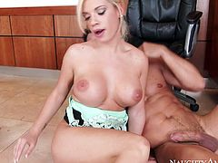Brazen office whore Bibi Noel seduced her coworker Johnny Castle to fuck in office. Babe rode that big dick in reverse cowgirl pose and got screwed on her side from behind.