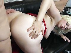 Alice Frost plays with her honkers and muff as she gives headjob to Spencer Fox after butt fucking