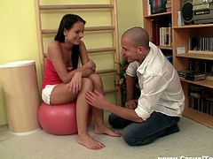 Pretty brunette Alena is having fun with Mike in a gym. The dude licks Alena's coochie and then lets the hottie suck his boner and take it in her hot depths.