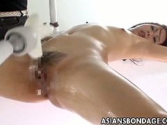 Checkout this sexy brunette babe with nice wet hairy cunt on the glass table is tortured y several men.Enjoy this hot bondage video with this sexy Japanese babe and her hairy cunt getting toyed hard.