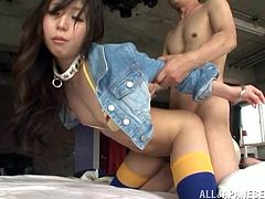 Have a blast watching this Asian brunette, with a nice ass wearing stockings, while she goes hardcore in different positions and moans stridently.