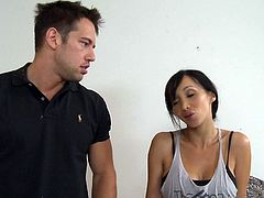Sporty Asian gal with staggering forms is in for a treat along hunk eager to crack her shaved pussy in half