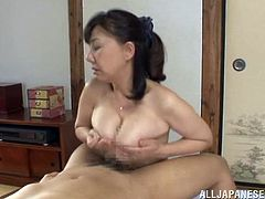 Have fun watching this Asian lady, with big jugs and a nice ass, while she gets nailed hard in different positions and moans stridently.