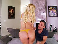 A passionate blonde chick blows a dick sitting on her knees and then gets her cunt licked. Then Aaliyah lies down on a sofa and gets pounded. The guy also fills Aaliyah's mouth with a big load of cum.