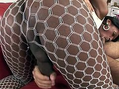 Voluptuous ebony ladyboy shows off her booty and big black cock in white fishnet pantyhose. Dude sucks that black sausage and gets his dirty asshole fucked missionary style.