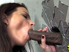 A busty brunette girl takes off clothes and masturbates in a toilet cabin. Then Bailey gives a blowjob and a handjob to a Black dude. This kinky girl also takes that dick in her cunt and gets a mouthful.