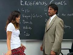 Teen Alliyah Sky is dressed in a sexy schoolgirl uniform while chatting with her professor in the classroom. She's not easy to resist to, so her professor gives her a fun cock ride.