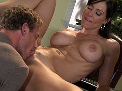 Be part of this video where a brunette cougar, with a nice ass wearing a cute dress, gets banged hard by a lusty fellow in different positions.