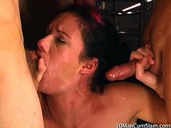 Taylor Rain is one of those thick white girls that loves to suck on cock and swallow cum. This big titty girl just doesn't want 1 cock to suck on. She wants 10 hard pulsing dicks! Watch her swallow all 10 loads of cum in this 10 Man Cum Slam.