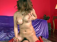Chubby dark haired Asian kitty Yuki Touma looks gorgeous in her red stockings. Big boobed Yuki finger fucks her hairy coochie and fucks that big dick with her melons.
