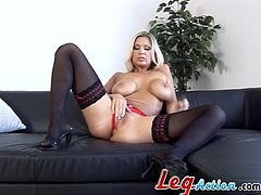 Pretty blonde Carol Gold wearing sexy lingerie and stockings is having fun indoors. She favours herself with fingering and then pounds her soaking wet coochie with a dildo.