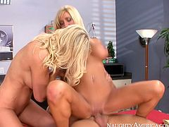 These cock crazed blondes with huge tits know how to share. They take turns sucking and riding Derrick Pierce's cock. Make sure you don't miss this passionate sex video because these slutty chicks will get your dick hard in a blink.