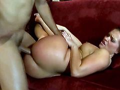 Emotional dark haired slut with jiggly bottom takes fat dick up her inviting asshole in reverse cowgirl pose. Then her poor asshole gets jackhammered missionary style.
