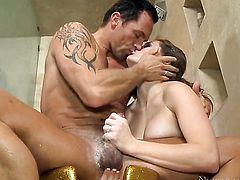 Brunette Allison Moore with giant jugs is curious about fucking with horny guy Marcus London