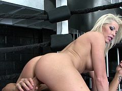 Busty blonde pornstar gets on the cock with trimmed pussy