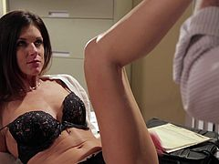 Amazingly hot chick in a sexy lingerie licks balls and strokes her boss' dick right in his office. Then India lies down on a table and gets fucked. The boss also cums in India's mouth.