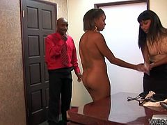 Bella Moretti and Mckenzy Sweets are two hot secretaries. They have a sensual threesome with their boss.
