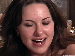 Dark haired lusty girlie with nice titties enjoyed getting eh throbbing pussy pounded in missionary, cowgirl and reverse styles. Take a look at that steamy sex in Fame Digital porn clip!
