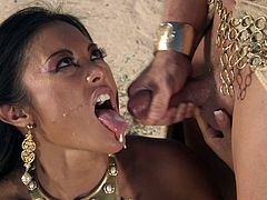 The amazing Kaylani Lei suckin' on a guy's cock outdoors and riding it hard like a motherfucker, check it out right here, it's sweet!