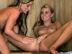 Gorgeous lesbian girlfriends Jessie Rogers and Melissa XoXo have some good time in the sauna. Horny babes start making out and licking each other's pussies.