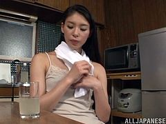 Witness this solo model video where an Asian brunette, with small boobs wearing panties, while she touches herself fervently like a dirty teen.