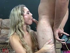 Long haired blonde sucks big cock with closed eyes and dreams of cum load. Then he dive between her legs and polishes her smooth punani.