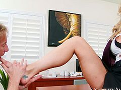 This stunning MILF is the boss when it comes to sex. She makes her co-worker lick worship her feet. Then she wants him to go down on her. Horny dude is powerless to resist her offer. He licks her twat passionately like a true pussy eater.
