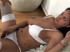 Black haired shemale in white lingerie pushes her brutal boyfriend on his knees an orders his to suck her hard dick. Then ladyboy thankfully blows her mate's sausage.