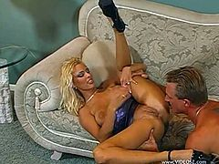 A fuckin' nasty blonde whore sucks on a hard cock and fuckin' gets her stupid tight asshole fucked hard by the bastard. Check it out !