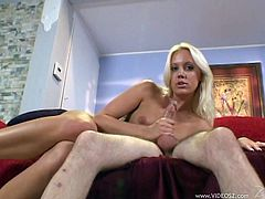 Slim blonde Kacey Villainess is trying to satisfy a guy. She shows her natural tits to the man and massages his weiner till it explodes with jizz.