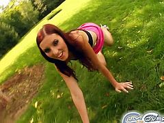 A group of guys are standing naked on the grass waiting for the sassy brunette to suck their cocks. She does such an amazing job that she starts stroking them all at once.