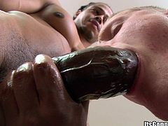 A fuckin' horny ass dude gets a fuckin' big ass black cock in her tight butthole, check it out right here, it's fuckin' hot as fuck!