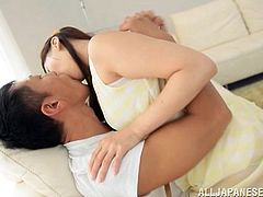 Pigtailed Japanese chick Beni Itou pleases a man with a passionate blowjob. Then they bang in the cowgirl position and doggy style and enjoy it a lot.