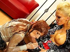 Dirty is how these two slutty babes like to get when enjoying the strapon together in femdom style