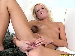 Angelic Alexia Sky masturbates lying on a sofa. She also shows her pussy in close-up scenes and gets fucked gently.