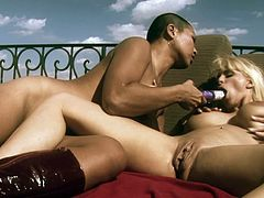 Sharing stiff toys during naughty and passionate lesbian outdoor adventure with two dazzling and horny babes