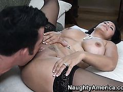 Latin Sophia Lomeli with big knockers is fuckable and horny guy Billy Glide knows it