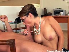 Stunning Holly West shows off her hot boobs and a pussy to the colleague. She plays with her pussy to turn on a guy. After that she gives a blowjob and a handjob.