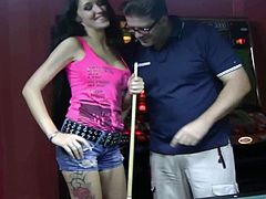 Stunning Meli Deluxe plays pool with some guy in a bar. There is no one there, so the girl takes off her shorts and panties. Meli gets fucked rough right on the pool table.