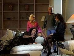 Heather Lynn and Tina Cherie are getting naughty with some man indoors. The bitches eat each other's pussies and allow the dude to finger and taste their pink slits.