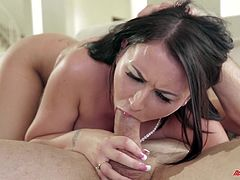 Have a good time by watching this brunette babe, with big breasts and a shaved kitty, while she gets badly screwed after sucking a huge prick.