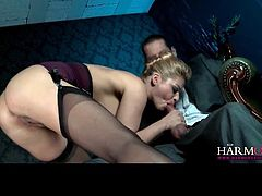 Curvy Cathy Heaven deepthroats dick and does anal