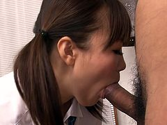 That dark haired shameless bitch is pretty young Asian hooker. She planned to finger her kitty in front camera. But when she saw huge cock of her operator she attacked it and sucked in a proper manner. Look at that dirty bitch in Jav HD sex video!