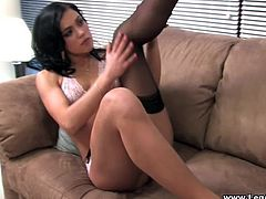 Brunette babe Alyssa Reece takes her stockings and lingerie off and shows her hot body for the cam. Then she fingers her pussy and pounds it with a sex toy.